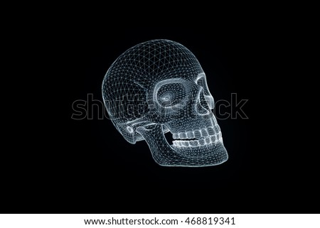 Human Skull 3D Wireframe Hologram in Motion. Nice 3D Rendering