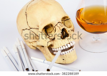 Human skull head with cigarettes and alcohol on white background. Smoking kills. Alcohol kills - stock photo