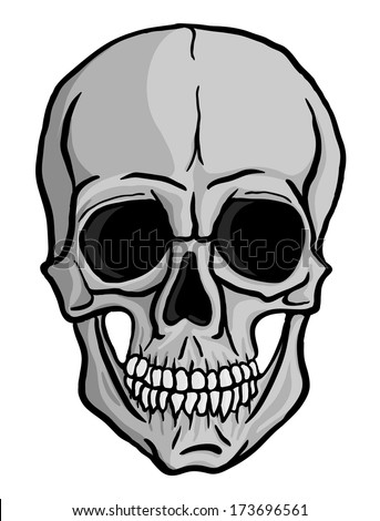 Human skull isolated on white background. Freehand drawing. Raster version of the illustration. - stock photo