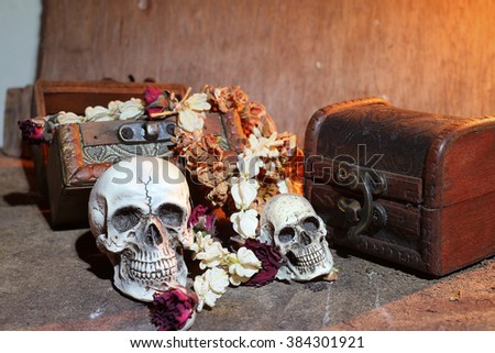 Human skull ,treasure chest and dry flowers on old wood background ; still-life