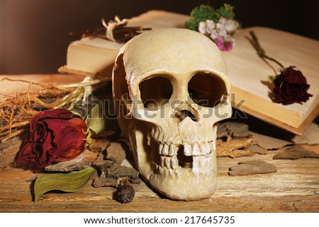 Human skull with dried rose on wooden table, close-up