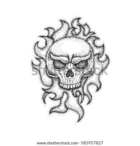 Human Skull With Fire Flame Dotwork Raster Illustration Of Boho Style T Shirt Design
