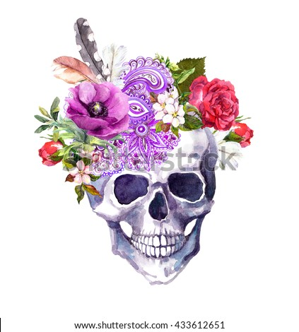 Human skull with flowers, ornamental decor and feathers in vintage boho style. Watercolor - stock photo