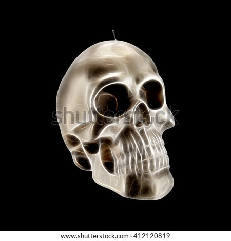 Human skull with neon effect - stock photo
