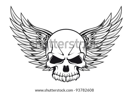 Human skull with wings for tattoo design. Vector version also available in gallery - stock photo