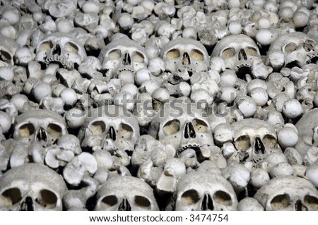 Human skulls and bones. Photo from Kutna Hora in Czech republic. - stock photo