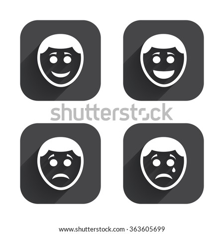 Human smile face icons. Happy, sad, cry signs. Happy smiley chat symbol. Sadness depression and crying signs. Square flat buttons with long shadow. - stock photo