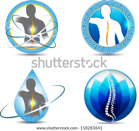 Human spine, vertebral column health care design. Abstract medical symbols. - stock photo