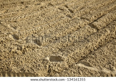 Human step tracks and tire tracks in beach sand. - stock photo