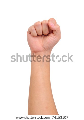 Human strength hand sign isolated on white - stock photo