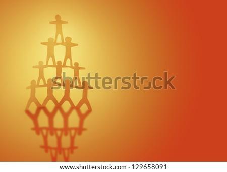 Human team pyramid on orange background - stock photo
