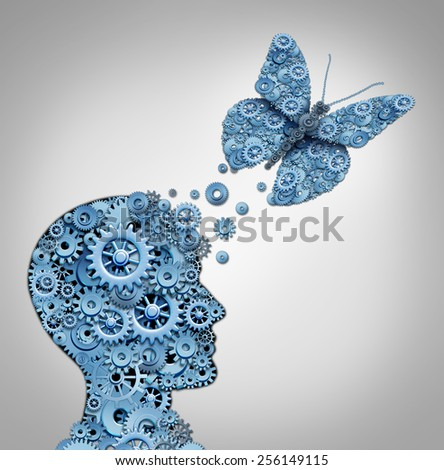 Human thinking and artificial intelligence concept as a technology symbol for a robot head and butterfly shaped with gears and machine cog wheels. - stock photo