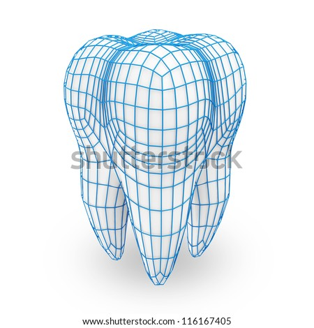Human Tooth with Grid isolated on white background (Protection Concept) - stock photo