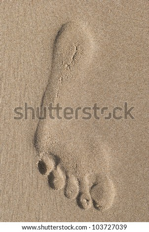 Human trace of foot made in sand on the beach