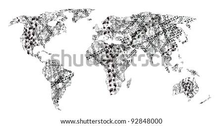 human tracks on the world - stock photo