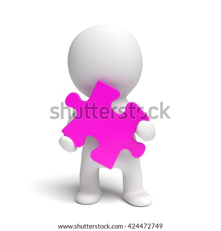 human white 3d person holding a pink puzzle piece (3D illustration isolated on a white background)