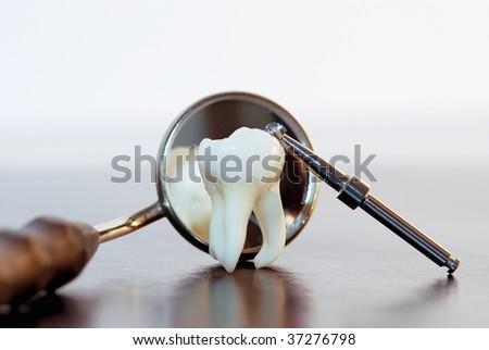 Human Wisdom Tooth And Dental Tools - stock photo