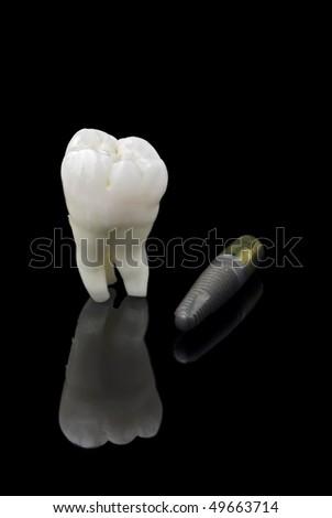 Human wisdom tooth and titanium implant over black - stock photo