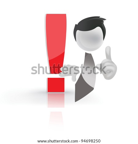 human with a red exclamation mark