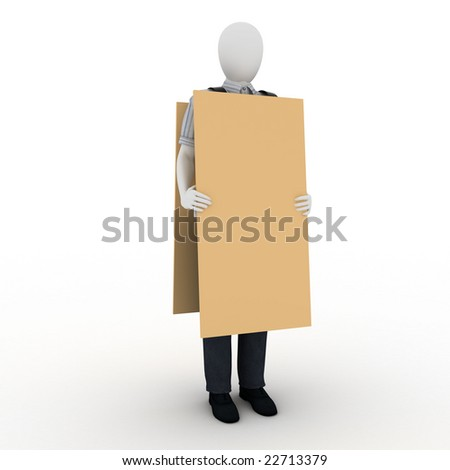 human with banner - stock photo