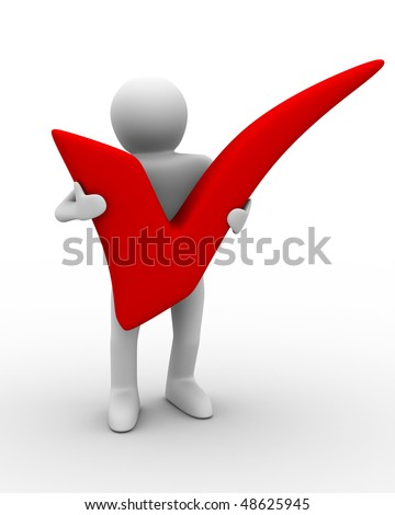 human with big positive symbol. Isolated 3D image - stock photo