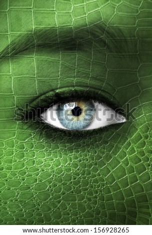 Human with lizzard skin texture - Mutation concept - stock photo