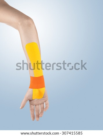 Human wrist pain with an anatomy injury caused by sports accident or arthritis as a skeletal joint problem medical health care concept. - stock photo