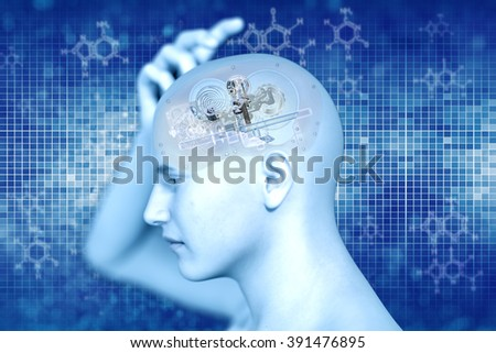 Human x-ray with gears for brains, inspiration concept  - stock photo