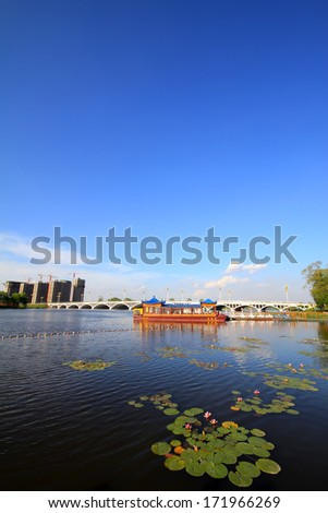 humanistic landscape in a park in China - stock photo