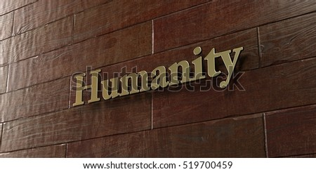 Humanity - Bronze plaque mounted on maple wood wall  - 3D rendered royalty free stock picture. This image can be used for an online website banner ad or a print postcard.
