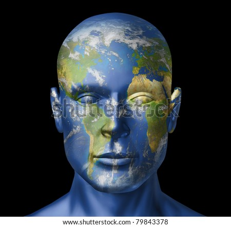 Humanity on earth representing the concept of human man and the planet earth and all that represents the world nations working together in the new international order of business and politics. - stock photo