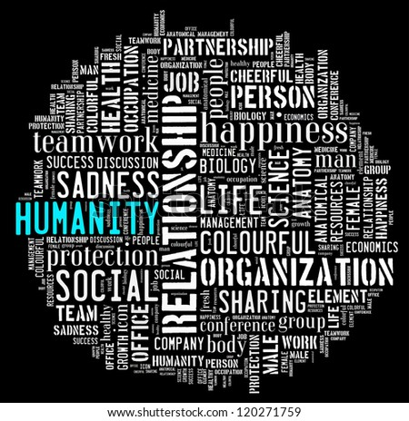 Humanity word clouds isolated in white background
