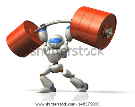 Humanoid robot is possesses superhuman strength.This is a computer generated image,on white background.