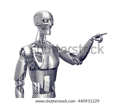 humanoid robot isolated on white with clipping path, 3d illustration
