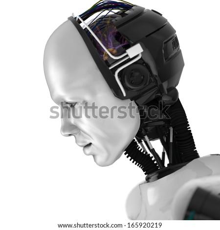 Humanoid Robotic Face - stock photo