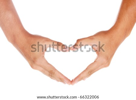humans hands forming a heart over white background - stock photo