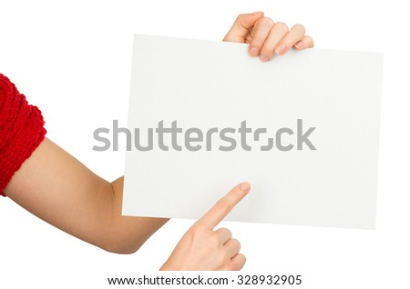 Humans right finger pointing at empty card on isolated white background