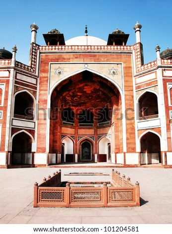 Humayun's Tomb, Delhi, India - the tomb of second Mughal Emperor - stock photo