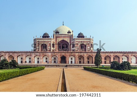 Humayun Tomb in Delhi, India. The Tomb was declared a UNESCO World Heritage Site in 1993. - stock photo