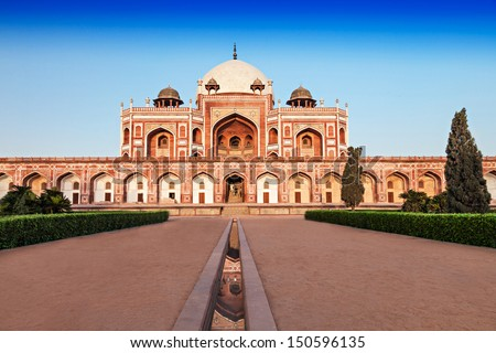 Humayuns Tomb is one of the most popular tourist destination in Delhi, India. - stock photo