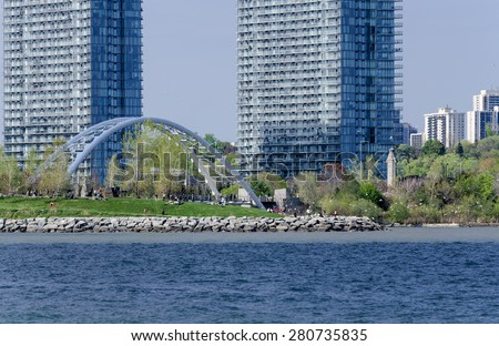 Humber Bay bridge and park in west Toronto - stock photo