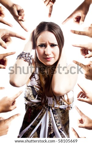 humiliated woman isolated on white - stock photo