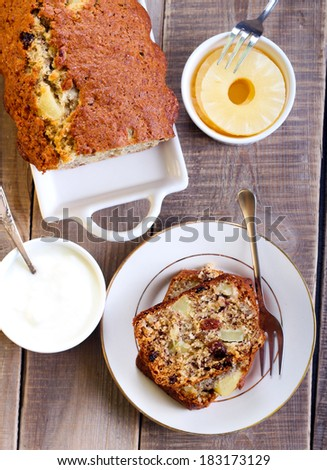 Hummingbird cake: banana and pineapple spice cake - stock photo