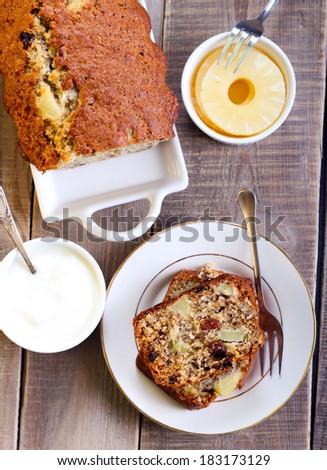 Hummingbird cake: banana and pineapple spice cake - stock photo