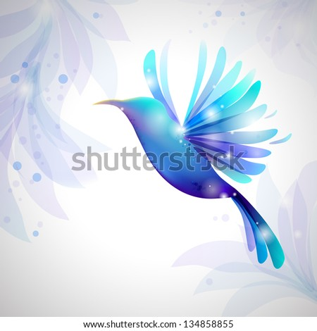 Hummingbird on pastel background: fine background for  Beauty Industry - stock photo