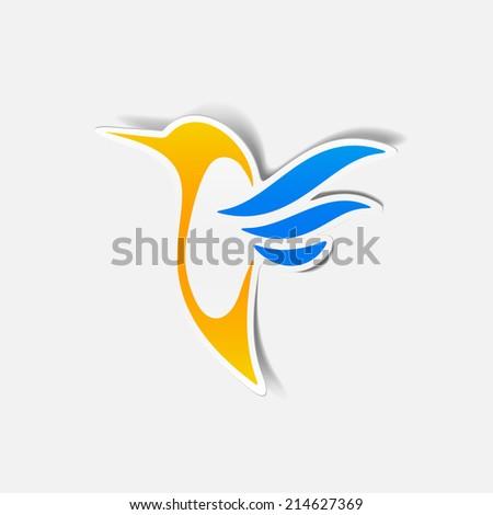 hummingbird sticker - stock photo