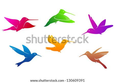 Hummingbirds symbols set with color plumage isolated on white background. Vector version also available in gallery