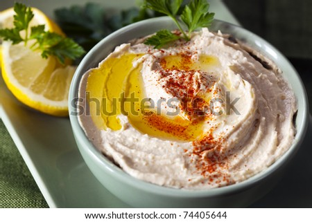 Hummus chickpea dip, with a little olive oil, paprika, and lemon.  Delicious healthy eating. - stock photo