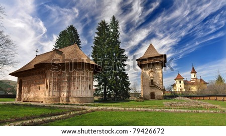Humor Monastery, Romania, view from exterior - stock photo