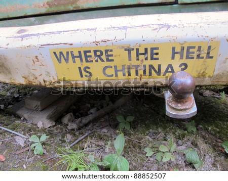Humor Van with Bumper Sticker - stock photo